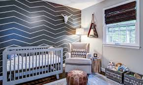 chevron wall ideas nursery transitional with woven blinds dark