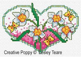 lesley teare designs floral hearts cross stitch pattern
