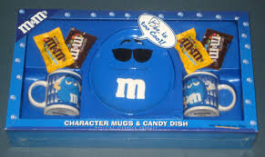 gift mugs with candy m m s character mugs candy dish plate gift set lot of 3 blue
