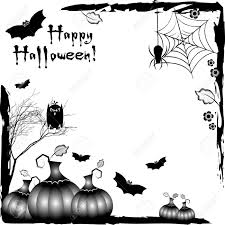 happy halloween clip art black and white holiday illustration on theme of halloween black corner frames