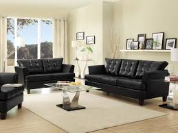 sofa living room decorating ideas with black leather furniture