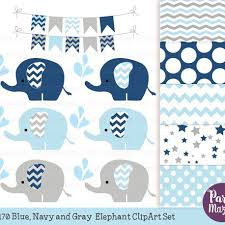 baby shower paper elephant clipart set chevron baby shower navy blue and gray