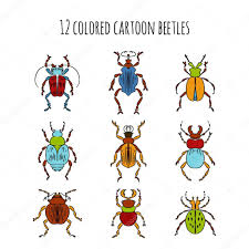 beetles insects colored cartoon drawing u2014 stock vector