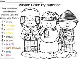 winter color by number addition subtraction within 10 tpt