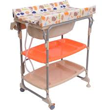 Baby Changing Table With Bath Tub Homcom Baby Changing Table Unit Changing Station Storage Trays And