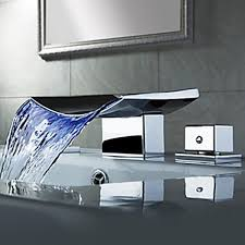 contemporary led waterfall brass chrome bathroom waterfall faucet
