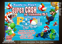super mario pool party invitations digital 10 printed email us