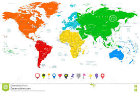 Greenland World Map by Detailed Vector World Map With Colorful Continents And Flat Map