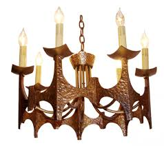 Chandelie Bronze Mid Century Modern Brutalist Chandelier In The Style Of