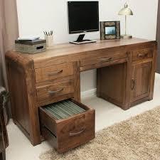 Pedestal Computer Desk Shiro Solid Walnut Pedestal Computer Desk Space Shape