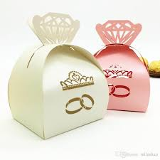 favor boxes wedding ring laser cutting favor box hollow crown shape laser