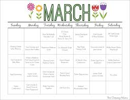 printable kids activities march printable activity calendar for kids the chirping moms