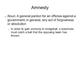 amnesty noun a general pardon for an offense against a
