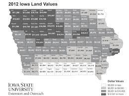 Iowa State University Map 2012 Iowa Land Value Survey Results Iowa State University
