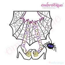 halloween wacky witch legs with spider machine embroidery design