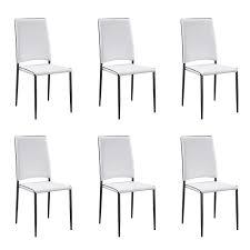 chaise blanche cuisine lot de 6 chaises de cuisine blanche tudelia achat vente chaise