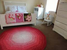 Pink And White Rug Pink And White Ombre Gradient Crochet Round Rug Geometric