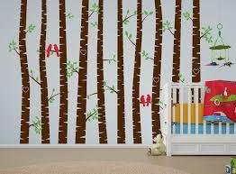 birch tree forest set vinyl wall decal love bird 1272 1272 birch trees nursery hearts jpg