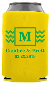 wedding personalized koozies modern wedding can coolers custom wedding can cooler