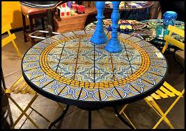 Patio Table Tile Top Outdoor Mosaic Kitchen Table Create A Mosaic Tile Tabletop