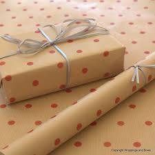 natural kraft patterned brown gift wrapping paper red spots