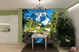 mural winter sight with mountain tops and a bridge photo mural winter sight with mountain tops and a bridge