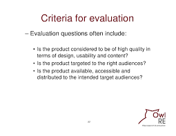 design criteria questions evaluating communication programmes products and caigns training