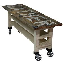kitchen island or table gather reclaimed wood lettered kitchen island or counter height