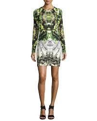 nicole miller artelier long sleeve printed neoprene dress in green