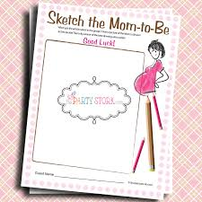 sketch the mom to be baby shower game printable many games