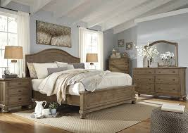 Bedroom Dresser With Mirror Tucker Furniture Trishley Light Brown Panel Bed W Dresser