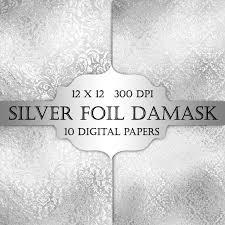 Silver Wedding Invitation Cards Silver Foil Damask Digital Paper Silver Floral Grey Damask