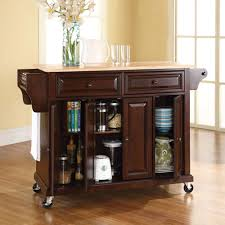 mobile kitchen island ideas the rolling organized kitchen island hammacher schlemmer