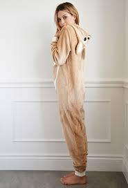 pj jumpsuit lyst forever 21 kangaroo plush pj jumpsuit in brown