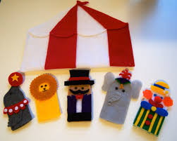 circus puppets circus finger puppet set ringmaster clown elephant lion seal