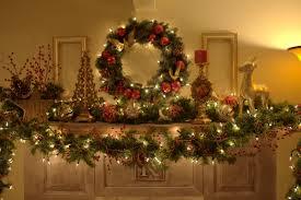 mantel garlands happy holidays mantelpiece