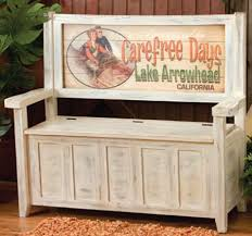 White Bench With Storage Weathered White Storage Bench With Custom Vintage Sign Back