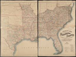 Southern United States Map by Johnson U0027s New Rail Road U0026 County Copper Plate Map Of The Southern