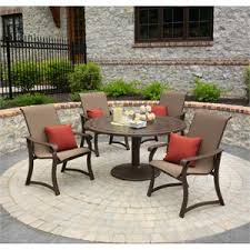 5 patio set telescope casual villa sling 5 outdoor patio dining set