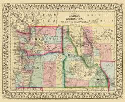 Map Montana Old State Map Oregon Washington Idaho Montana 1870