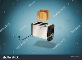 Toasters Toast Toast Popping Flying Toaster Toast Toasted Bread Stock Photo 126802763