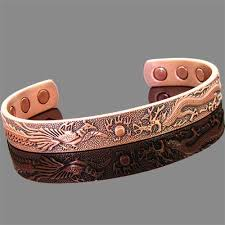 magnetic bracelet with copper images Copper magnetic bracelet peacock and dragon jpg