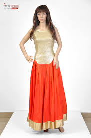 warrior princess style golden and orange red indo western prom