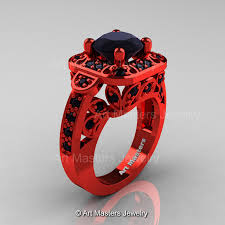 red gold rings images Art masters classic 14k red gold 2 0 ct black diamond engagement jpg