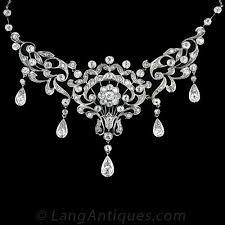 light diamond necklace images Antique diamond bib style necklace jpg