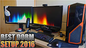 insane college dorm room gaming pc and console gaming setup 2016
