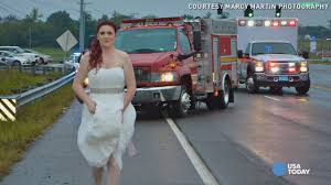in wedding dress photo of paramedic in wedding dress goes viral