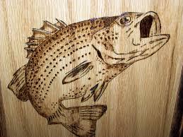 woodburning fish pattern crafting practice wood working