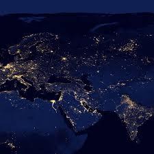 Sattelite World Map by Night Lights 2012 Flat Map Natural Hazards