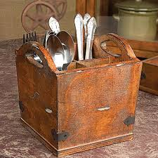 Silverware Caddy For Buffet by 34 00 Compartmentalized Wooden Bucket With Metal Strapping Holds
